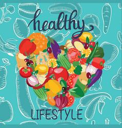 fresh healthy vegetables heart shape vector image