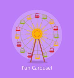 Fun carousel closeup isolated on light purple vector