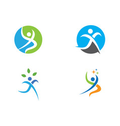 fun people healthy life logo template icon vector image