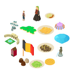 germany travel icons set isometric style vector image