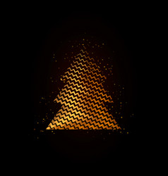 gold geometric christmas tree on black background vector image