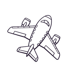 hand drawn doodle toy plane vector image