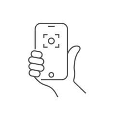 hand holding phone selfie icon trendy icon vector image