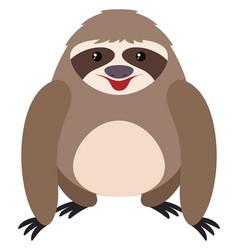 happy sloth on white background vector image