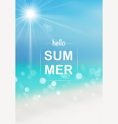 hello summer background with bokeh effect vector image