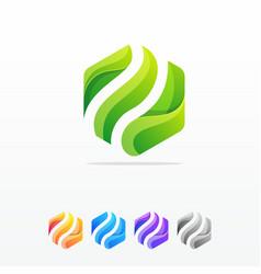 hexagon abstract logo design template vector image