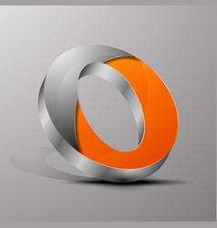 isolated 3d logoorange letter o with vector image
