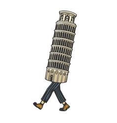 leaning tower pisa walk sketch engraving vector image