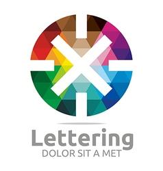lettering x rainbow alphabet logo icon vector image