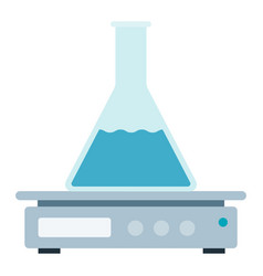 Magnetic stirrer with conical flask icon vector