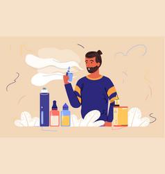 Male bearded character is enjoing vaping vector