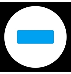 Minus flat blue and white colors round button vector