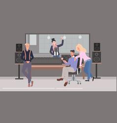 Mix race people performing in recording studio men vector