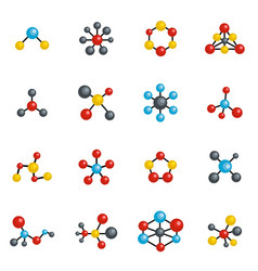 molecular structure chemical icons set vector image