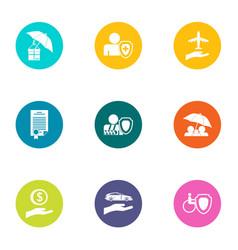 monetary treatment icons set flat style vector image