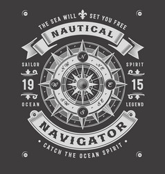 Nautical navigator typography on black background vector