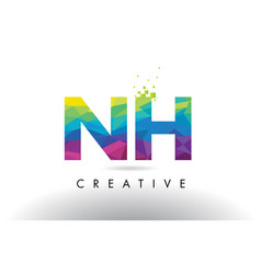 nh n h colorful letter origami triangles design vector image