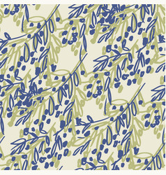 olive tree branches hand drawn seamless pattern vector image