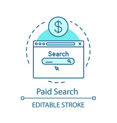Paid search turquoise concept icon pay per click vector