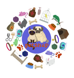 pet shop poster design with many pets vector image