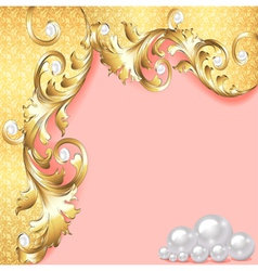 pink background with gold ornaments vector image