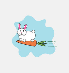 rabbit and carrot cartoon character funny animals vector image