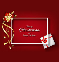 red christmas background with frame decoration vector image