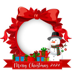 red ribbon frame with merry christmas 2020 font vector image