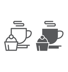 restaurant line and glyph icon food and drink vector image