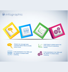 Row 3d cubes infographics vector