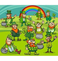 saint patrick day characters group vector image