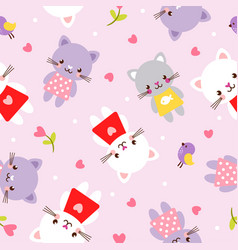 seamless with kittens picture vector image