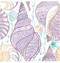 seashell seamless pattern summer resort background vector image