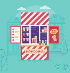 Selling popcorn kiosk or street food stall vector
