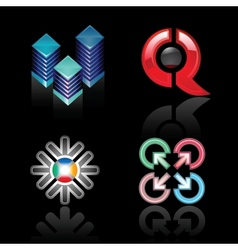 Set emblems on a black background vector