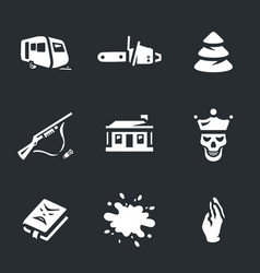 set of horror icons vector image