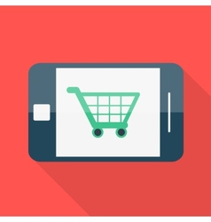 Smartphone Flat design Shopping basket icon vector image