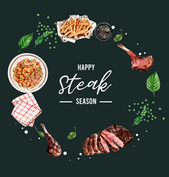 Steak wreath design with grilled meat napkin vector