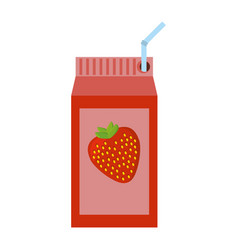 strawberry juice box with straw vector image
