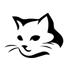 Stylized cat icon on white background vector