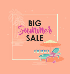 summer sale banner with lounge chair umbrella vector image