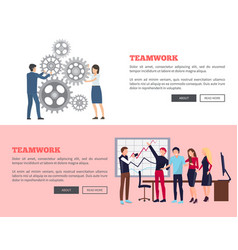 Teamwork web page design vector