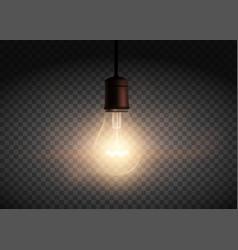 Template edison retro light bulb is glowing vector