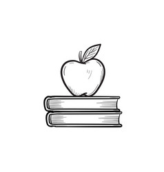 Text books and apple hand drawn sketch icon vector