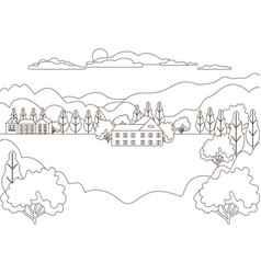 thin line outline landscape rural farm panorama vector image