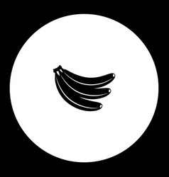 three bananas fruit simple black icon eps10 vector image