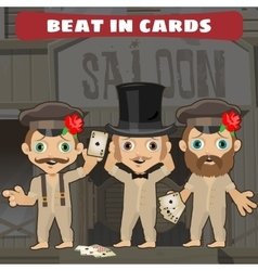 Three cowboys in the saloon playing cards vector