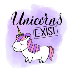 Unicorn cute lettering and vector