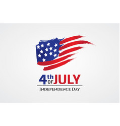 Us flag with brush stroke style 4th july greeting vector
