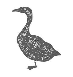 Vintage typographic goose butcher cuts diagram vector